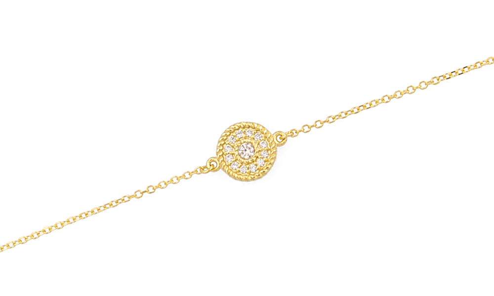 YELLOW GOLD K14 BRACELET WITH ROUND ELEMENT