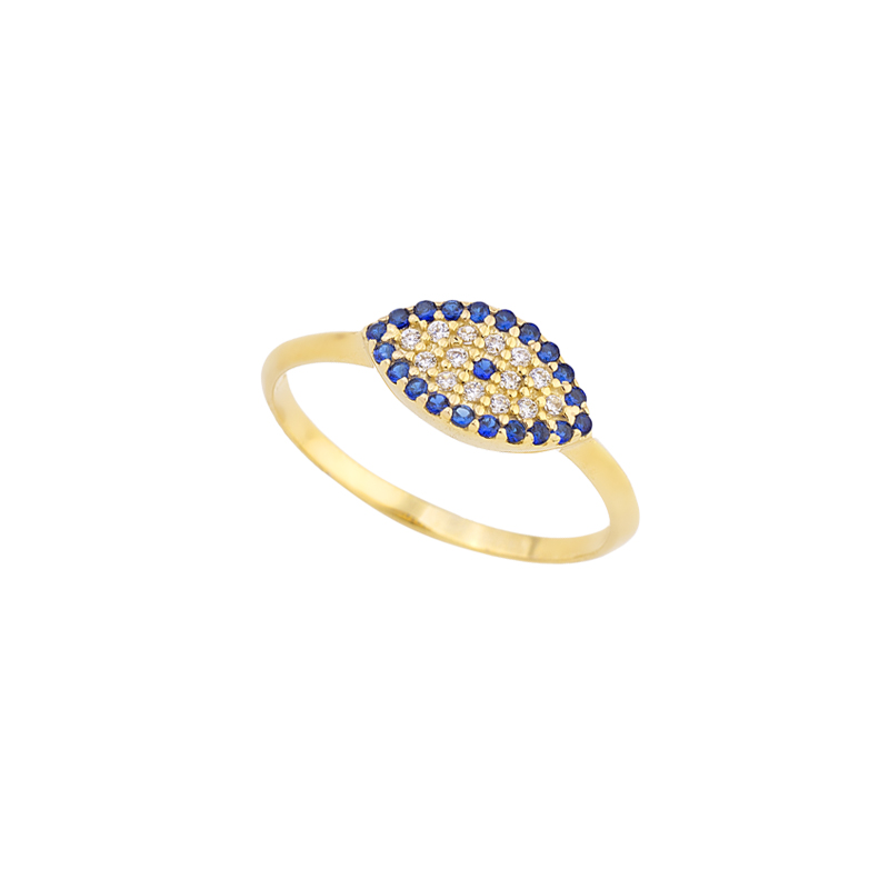 YELLOW GOLD K14 EVIL EYE RING WITH ZIRCONS