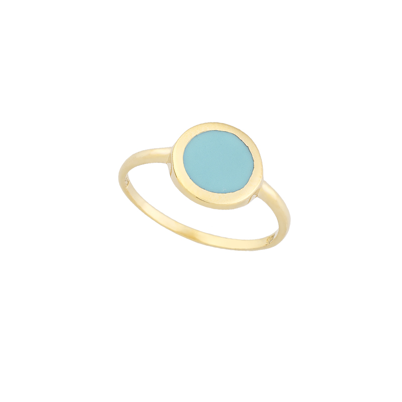 YELLOW GOLD K14 RING IN SHAPE OF CIRCLE WITH ENAMEL
