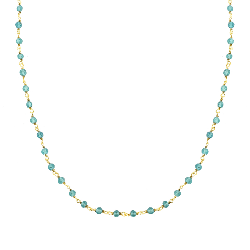 YELLOW GOLD K14 NECKLACE WITH STONES BLUE TOPAZ