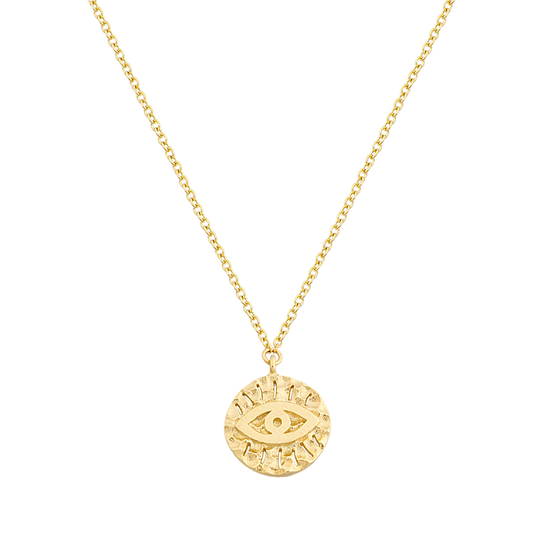 YELLOW GOLD K14 EVIL EYE NECKLACE