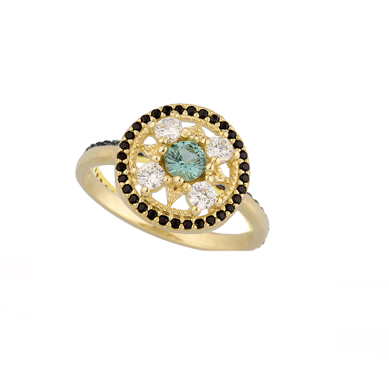 YELLOW GOLD K14 RING WITH WHITE , BLACK AND NANOSITAL ZIRCONS