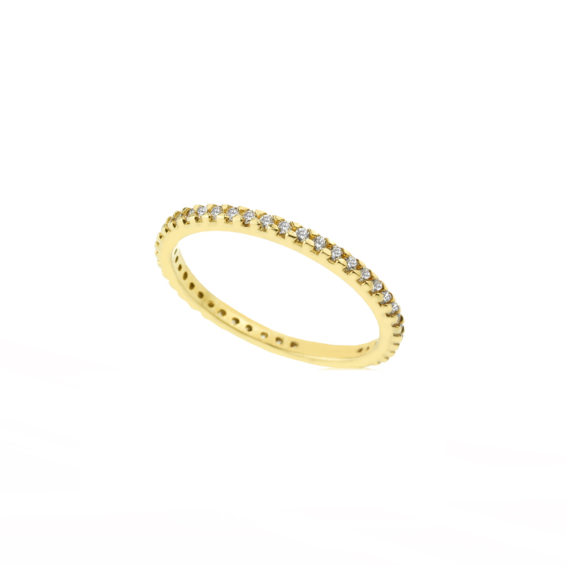 YELLOW GOLD K14 BAND RING WITH WHITE ZIRCONS