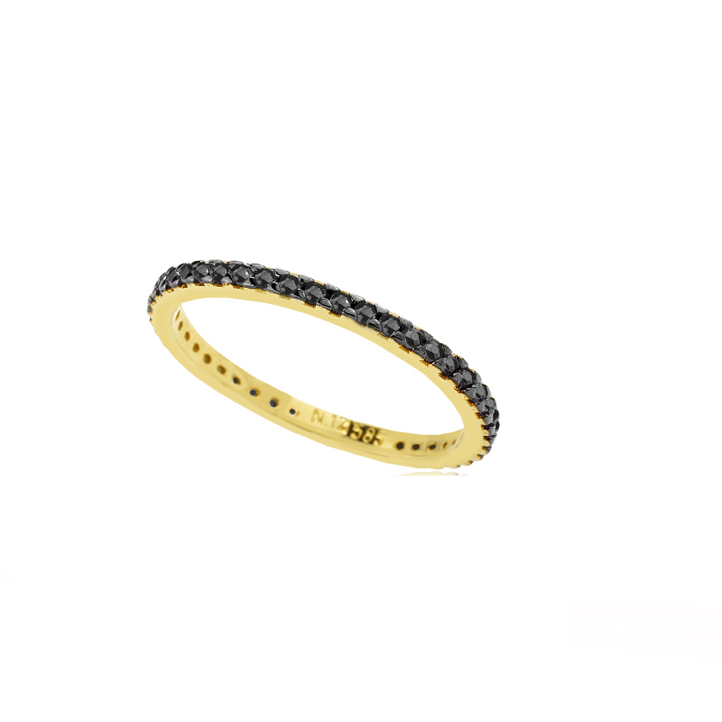 YELLOW GOLD K14 BAND RING WITH BLACK ZIRCONS