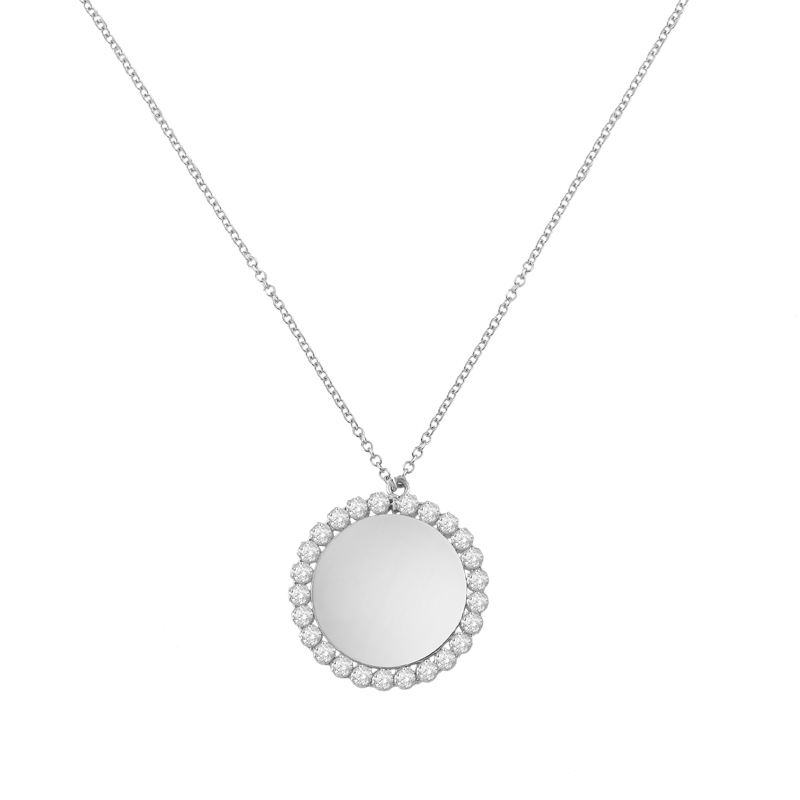WHITE GOLD K14 NECKLACE WITH ROUND ELEMENT AND ZIRCONS