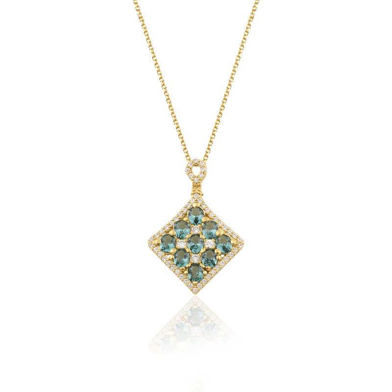 YELLOW GOLD K14 NECKLACE WITH RHOMBUS ELEMENT AND NANOSITAL ZIRCON