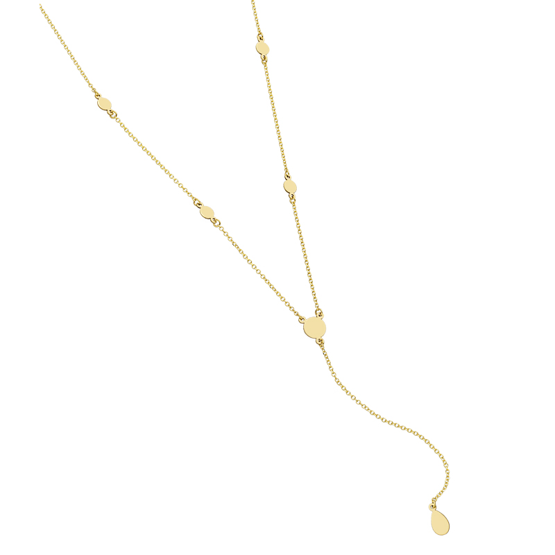 YELLOW GOLD K14 NECKLACE WITH ROUND PLANE ELEMENT