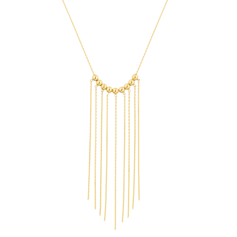 YELLOW GOLD K14 NECKLACE WITH CHAINS