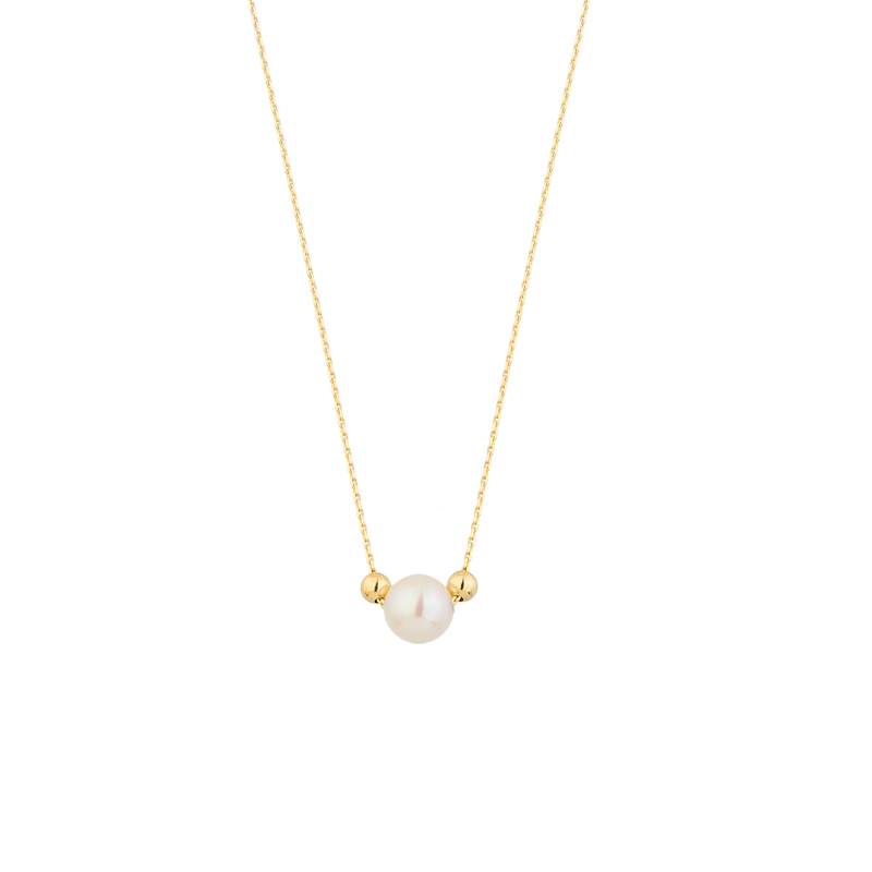 YELLOW GOLD K14 NECKLACE WITH PEARL