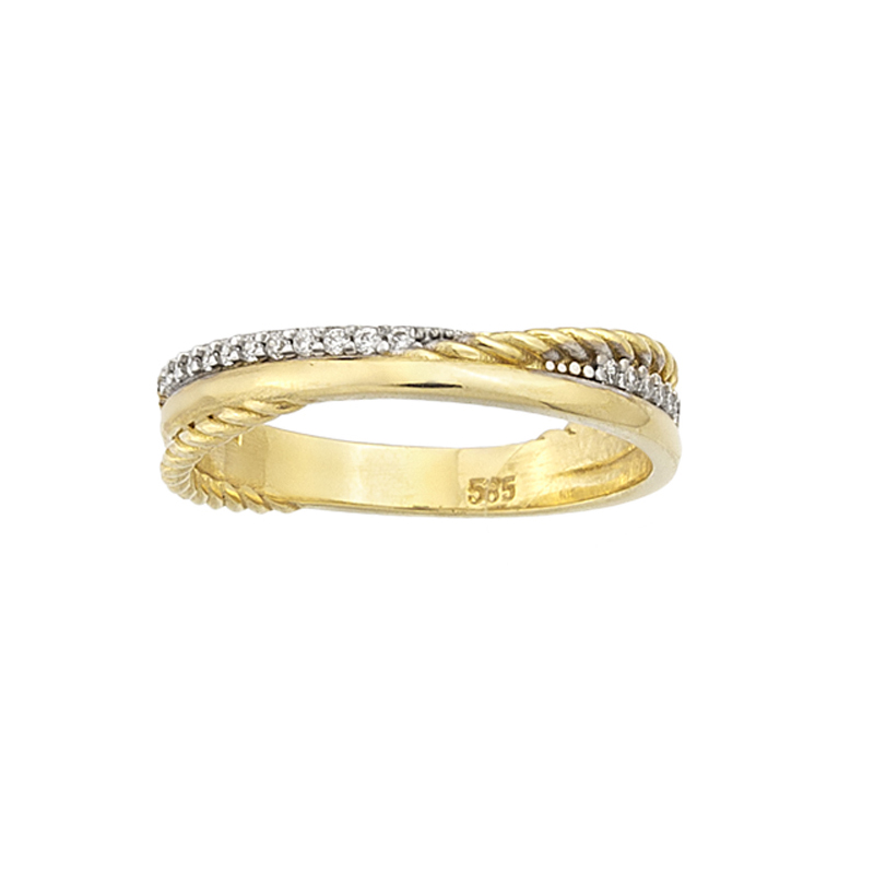 YELLOW GOLD K14 RING WITH WHITE ZIRCONS
