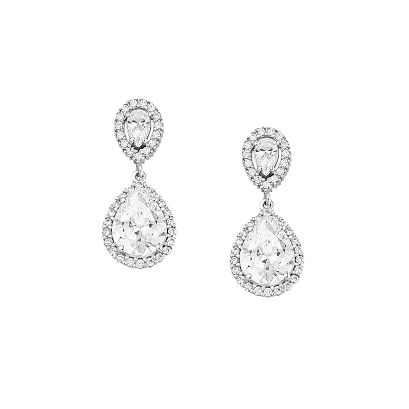 WHITE GOLD K18 WITH PEAR DIAMONDS EARRINGS