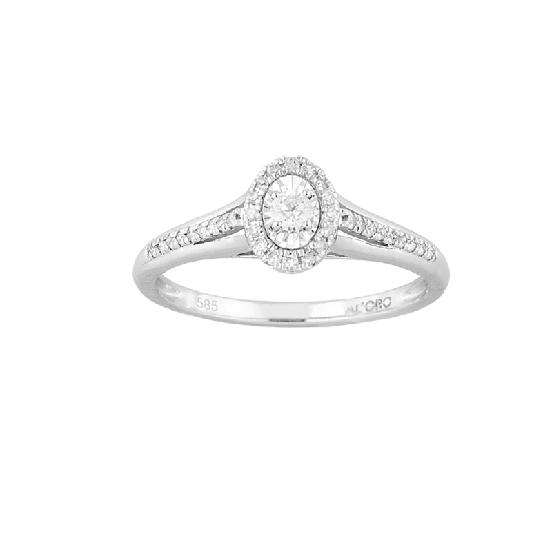 WHITE GOLD K18 SOLITAIRE RING WITH DIAMONDS