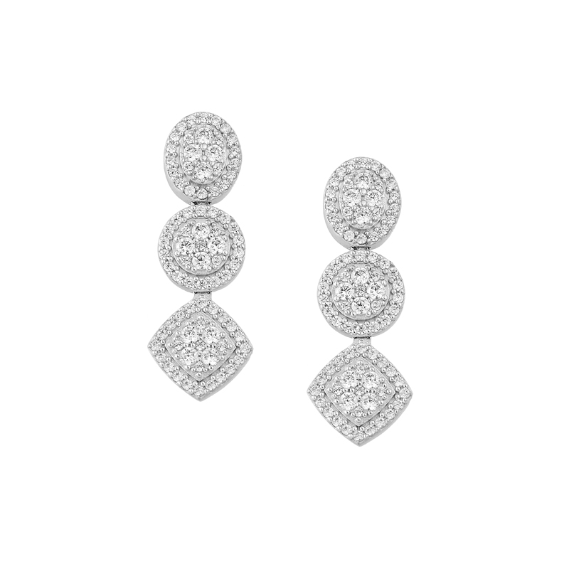 WHITE GOLD K18 DIAMONDS EARRING