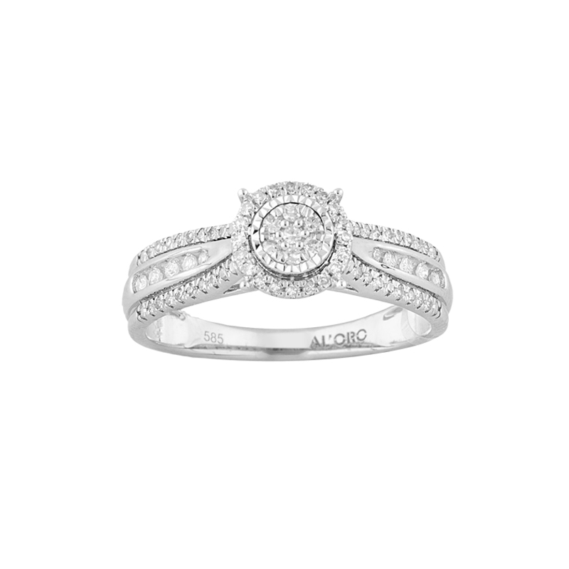 WHITE GOLD K18 RING WITH DIAMONDS