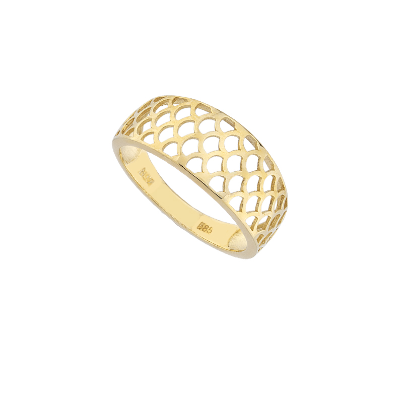 YELLOW GOLD K14 PERFORATED RING